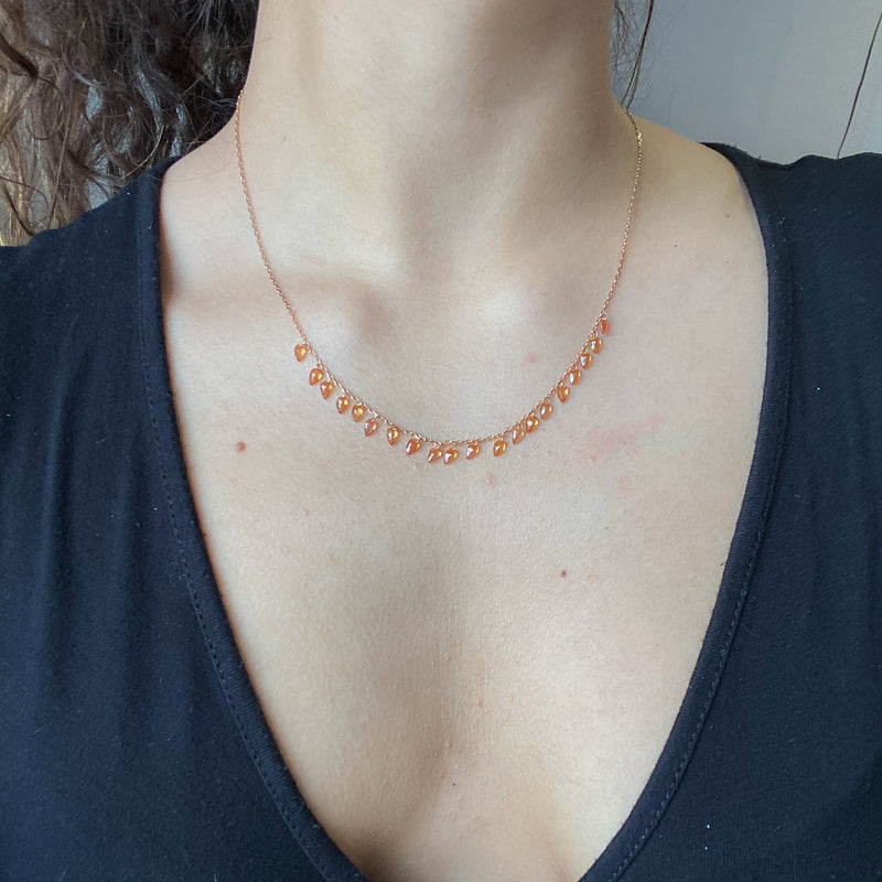 "6.00ctw Orange Sapphire ""Threaded' Necklace"