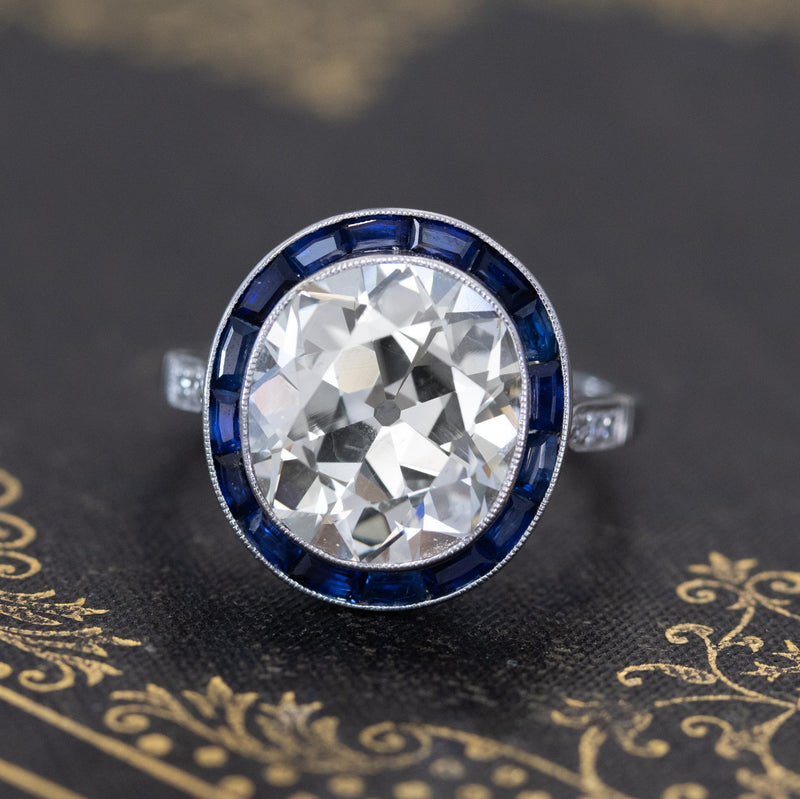 6.07ct Antique Oval Mine Cut Sapphire Target Ring