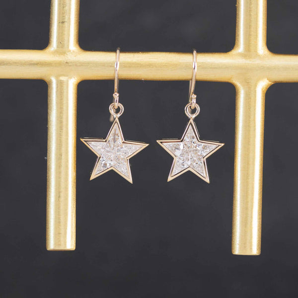 .62ctw Dangly Star Mosaic Diamond Earrings