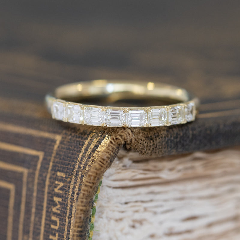 .64ctw Emerald Cut Diamond Half Eternity Band