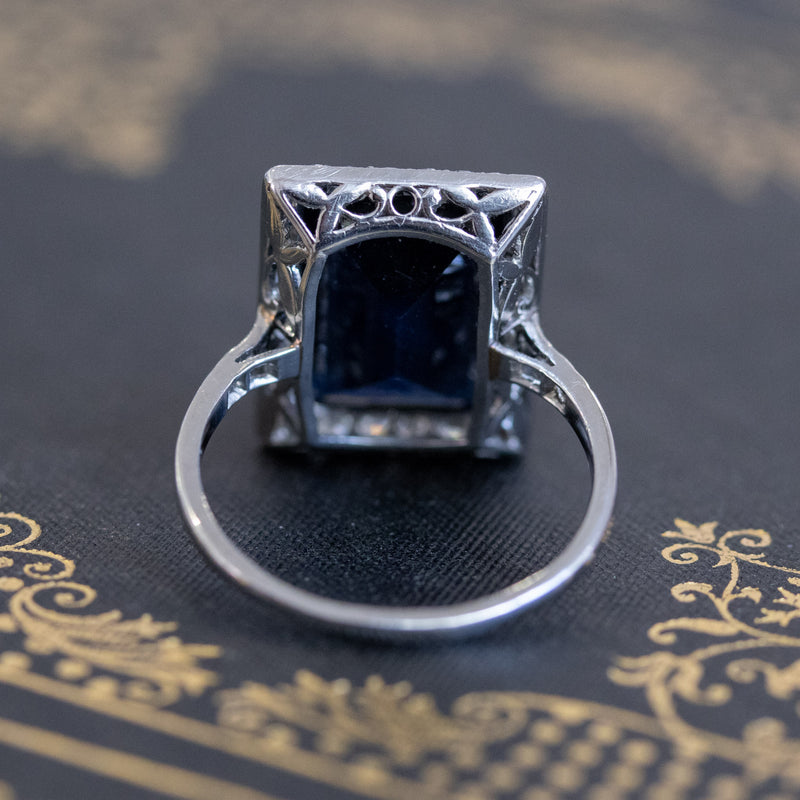 7.23ctw Vintage Sapphire Halo Ring