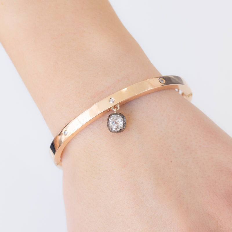 .84ct Oval Mine Cut Collet Diamond Bangle, 14kt Rose Gold