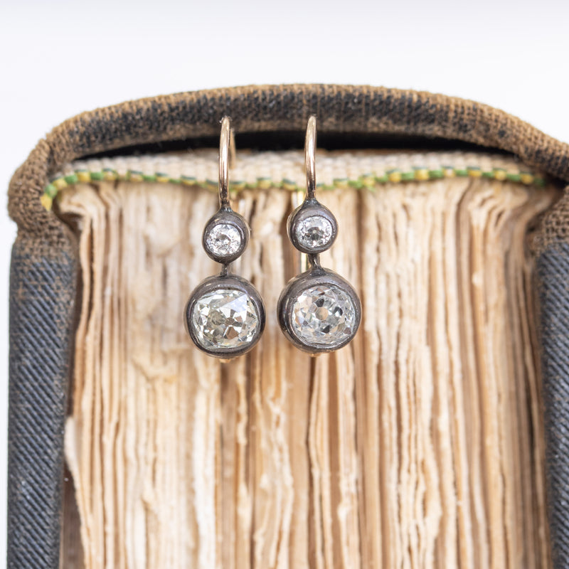 .80ctw Victorian double drop earrings