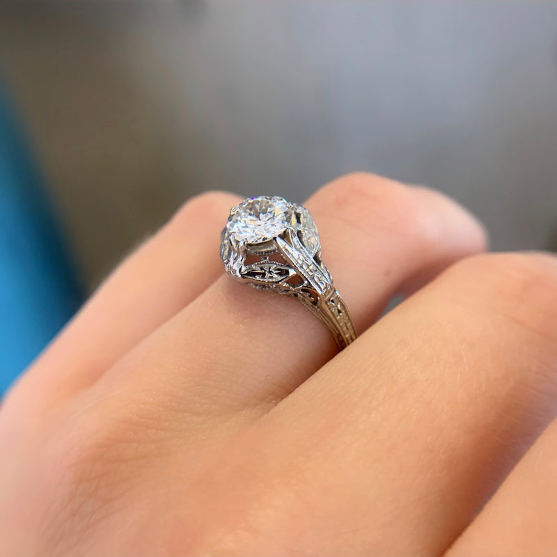 1.00ct Old European Cut Solitaire Ring