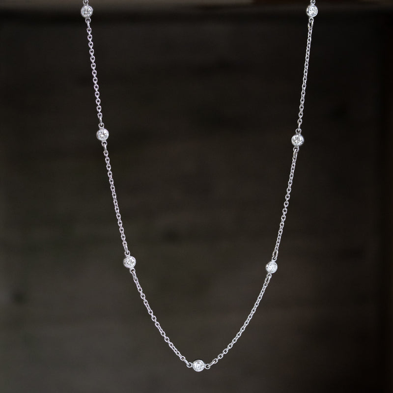 .90ctw Platinum & White Gold Station Necklace