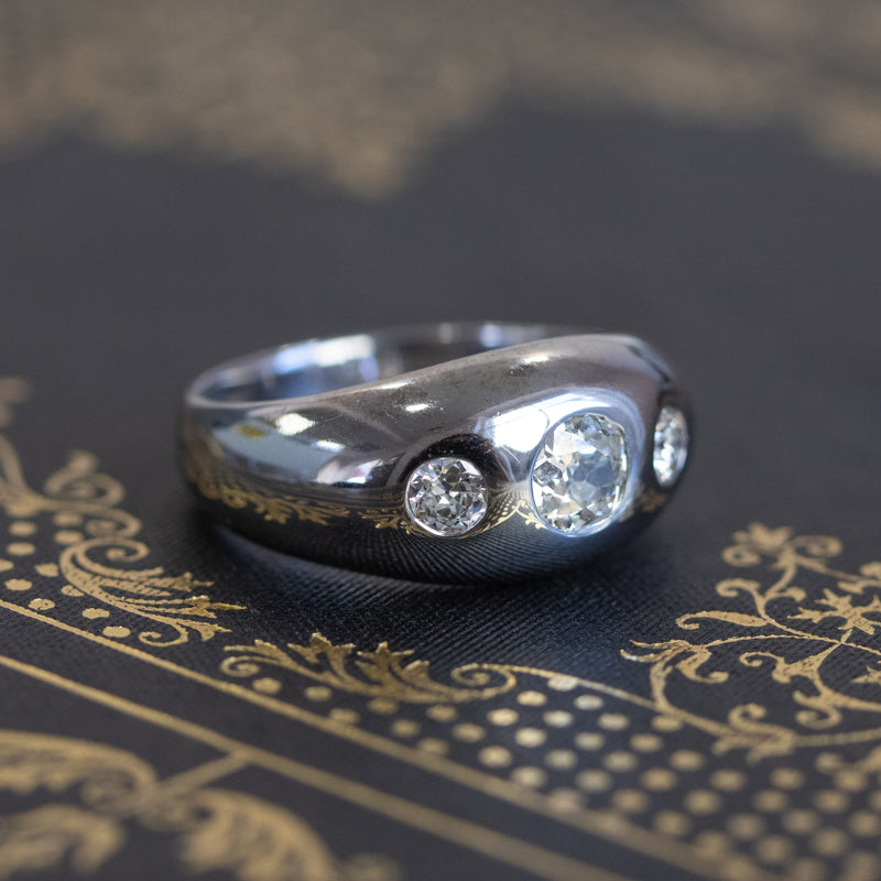 .93ctw Old Mine Cut Diamond Gypsy Ring