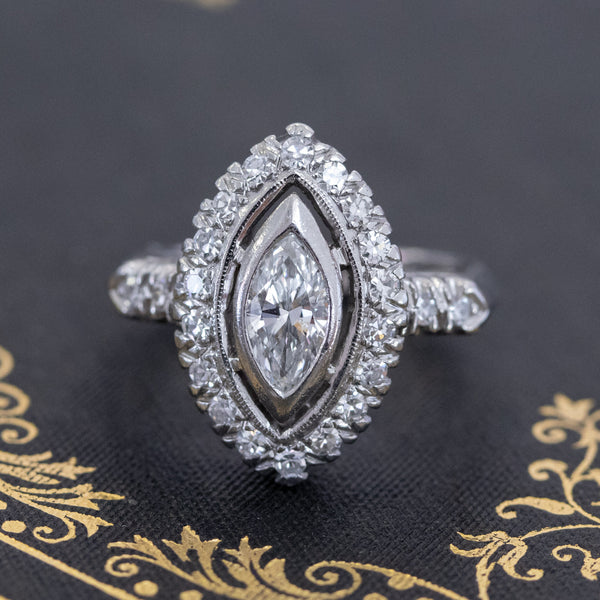 .93ctw Vintage Marquise Cut Diamond Navette Ring
