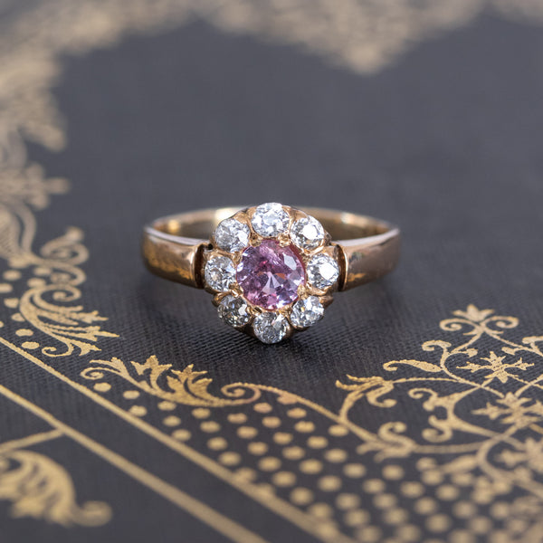 .94ctw Antique Pink Sapphire Cluster Ring