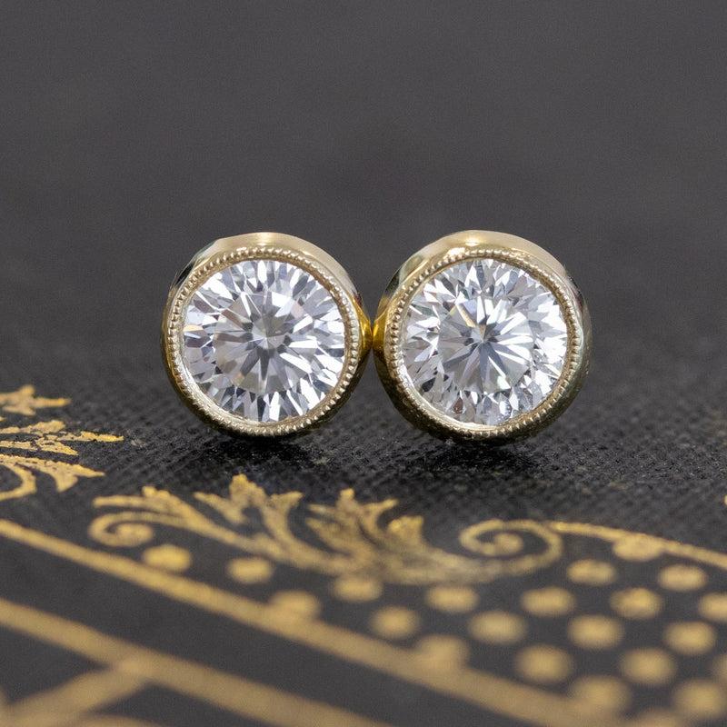 .94ctw Round Novelty Cut Diamond Bezel Stud Earrings