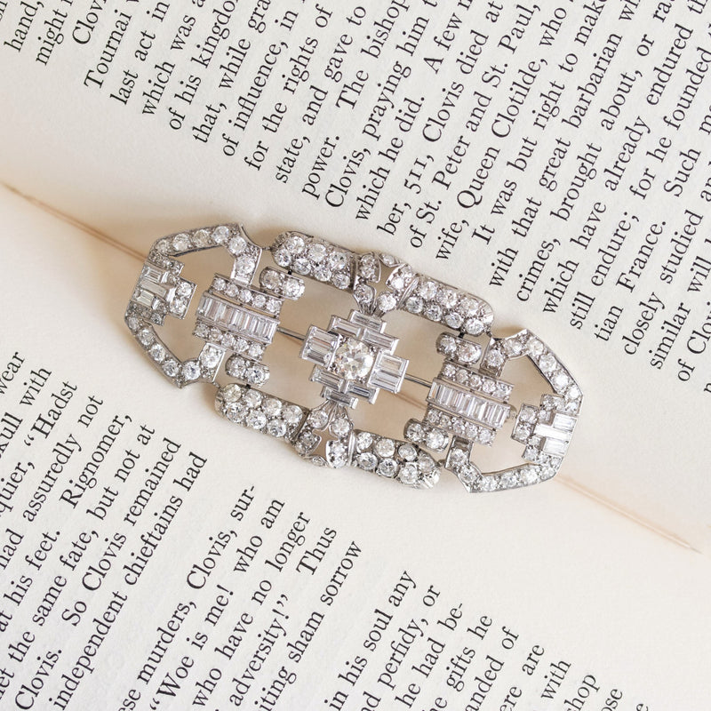 7.38ctw Antique Art Deco Diamond Brooch