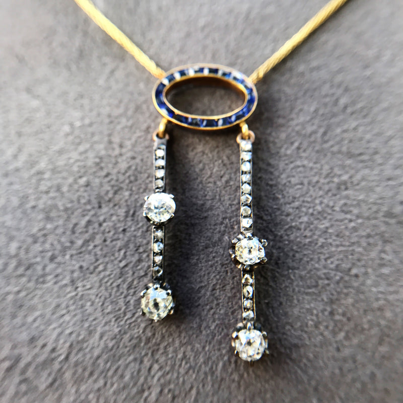 1.80ctw Antique Diamond and Sapphire Negligee Pendant