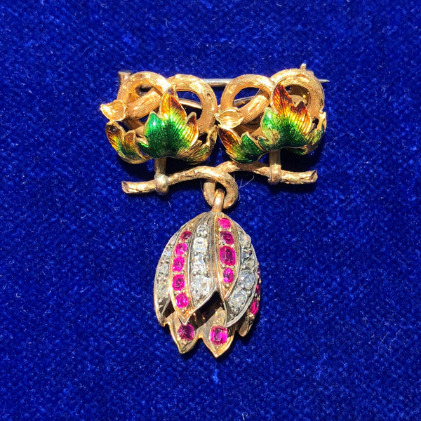 1.18ctw Antique Diamond and Ruby Leaf and Flower Motif Brooch