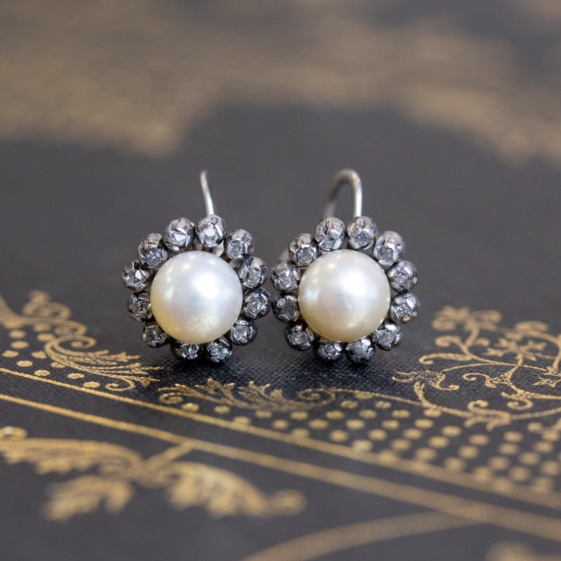 .35ctw Victorian Pearl & Diamond Earrings