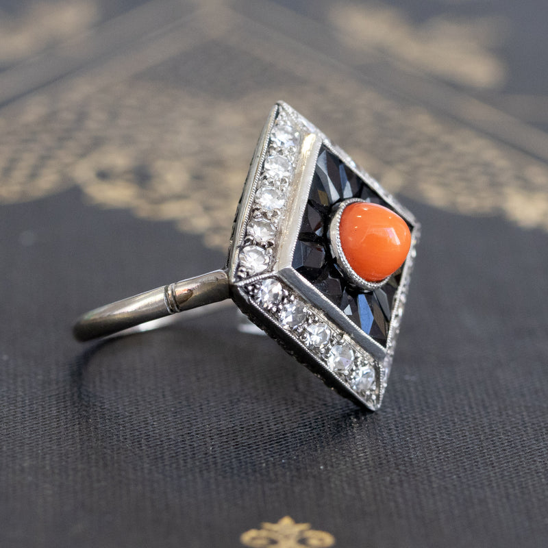 Art Deco Coral, Onyx & Diamond Dinner Ring