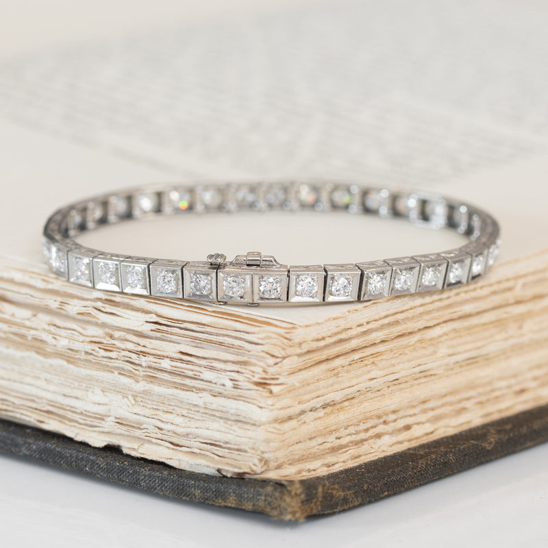 3.95ctw Art Deco Old European Cut Diamond Tennis Bracelet