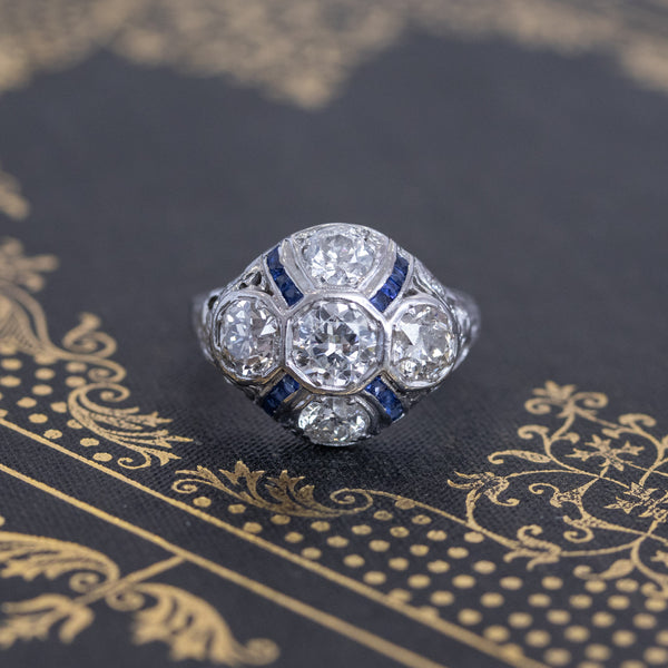 2.35ctw Art Deco Diamond & Sapphire Dome Dinner Ring