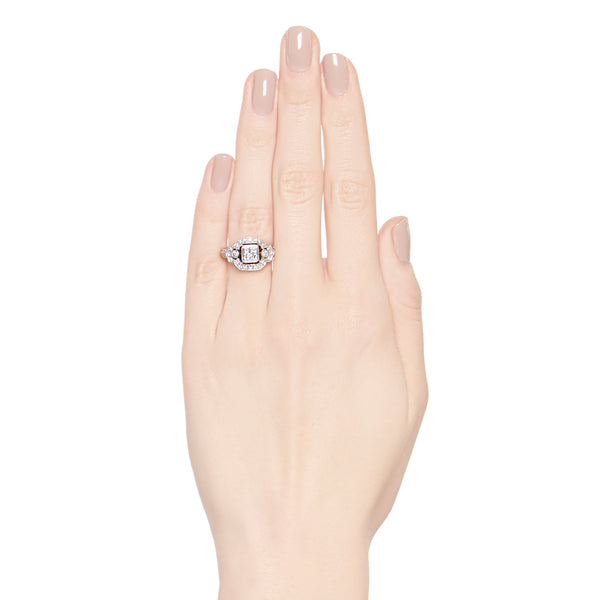 Art Deco Inspired Princess Cut Diamond Halo Ring