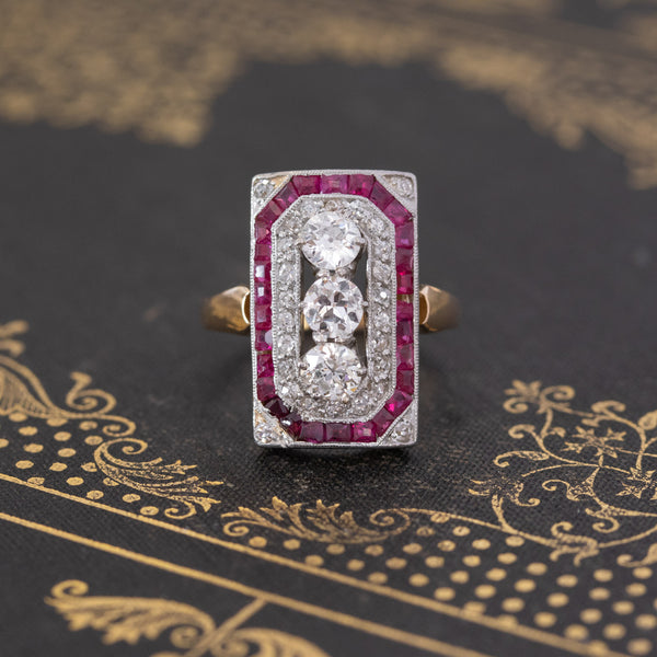 2.34ctw Edwardian Old European & Ruby Plaque Ring