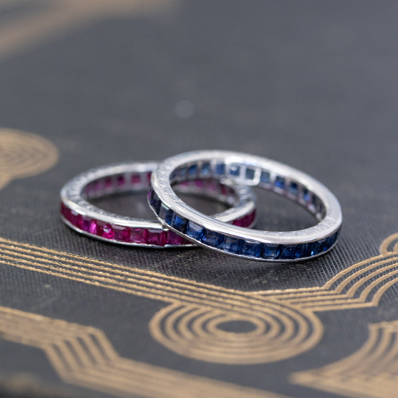 Art Deco Sapphire and Ruby Matched Bands, by Tiffany & Co