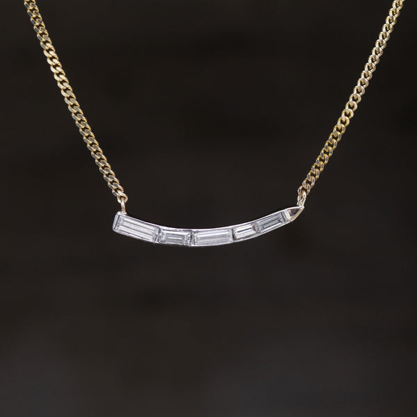.55ctw Baguette Diamond Wave Pendant