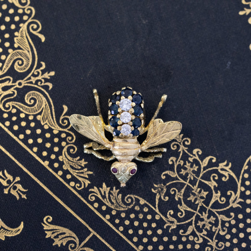 1.45ctw Diamond Bee Brooch