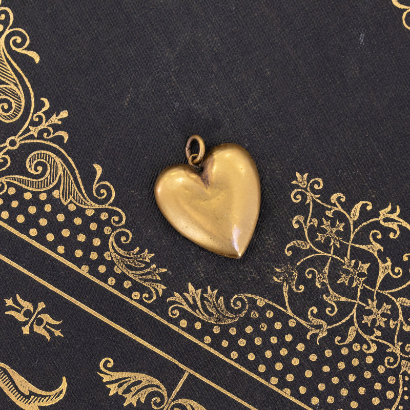 Victorian Engraved Heart Pendant with Enamel