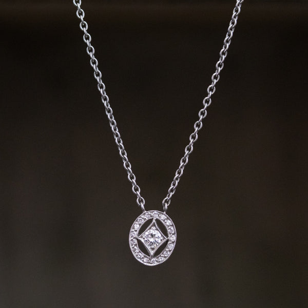 Cathy Waterman Oval Frame Platinum and Diamond Pendant
