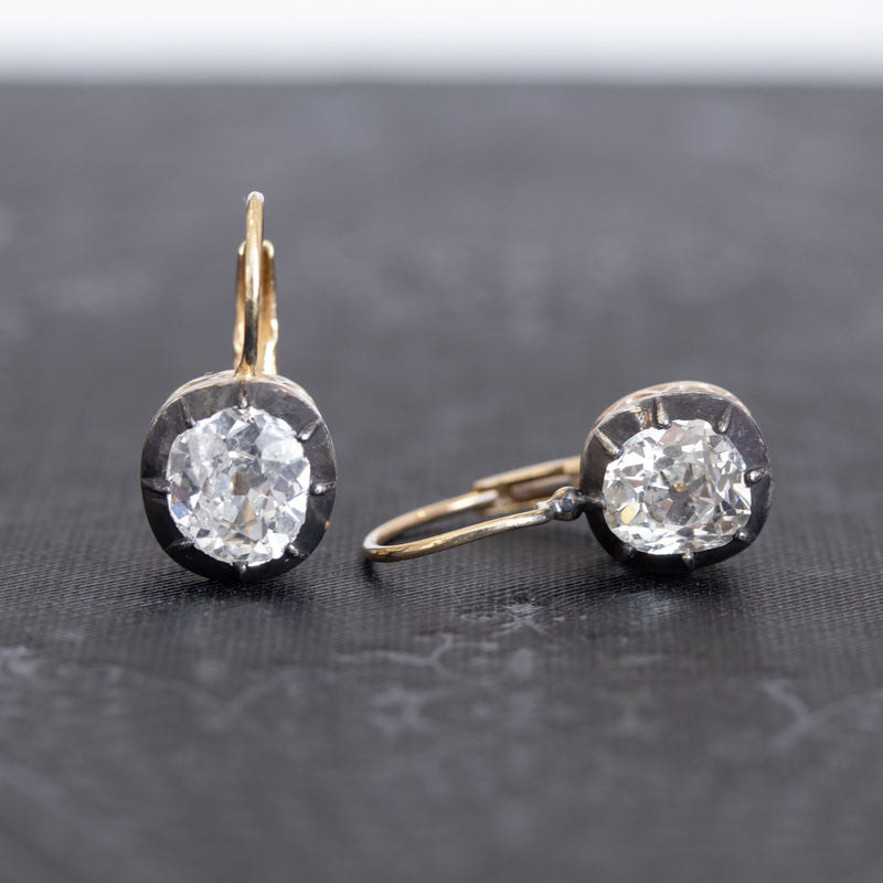 2.07ctw Victorian-Era Collet Set Diamond Dormeuse Earrings