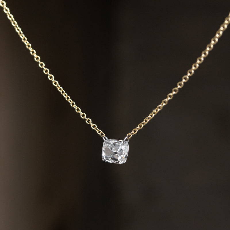 .70ct Cushion Cut Pierced Diamond Pendant, Yellow Gold