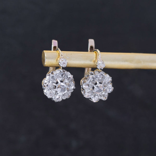 .55ctw Diamond Cluster Drop Earrings, French