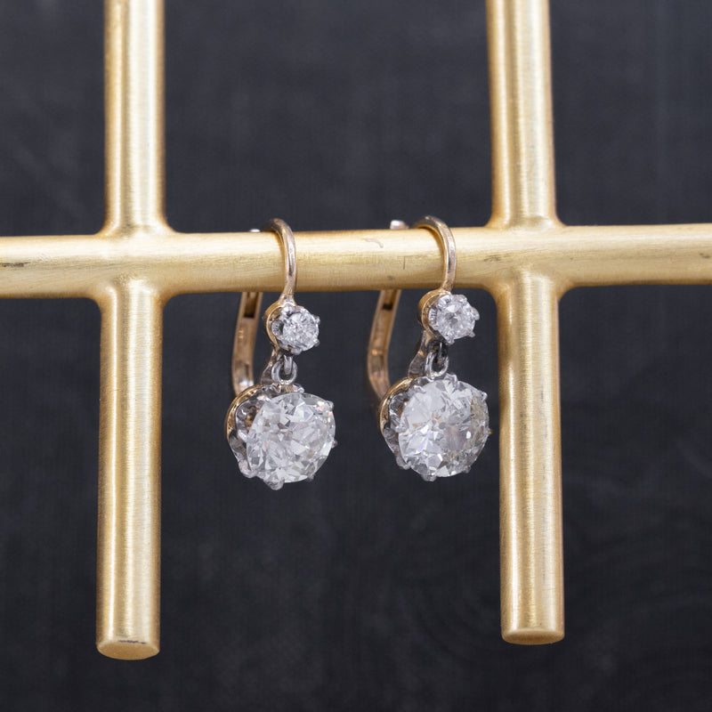 3.50ctw Edwardian Old Mine Cushion Cut Dormeuse Earrings