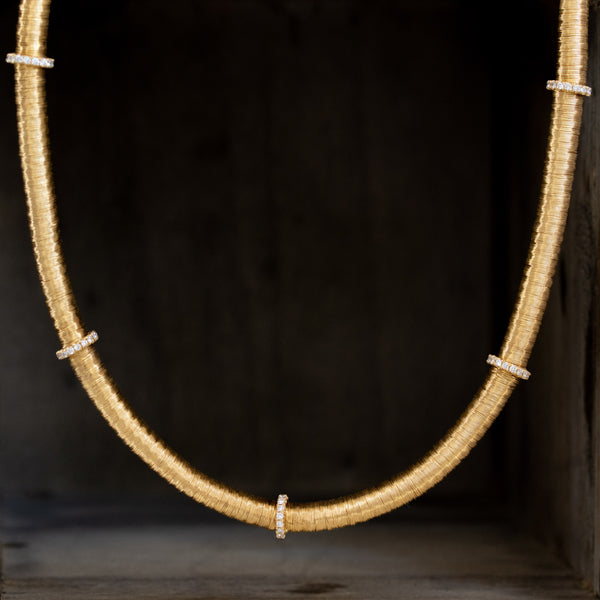 Gold Coil and Diamond Necklace, by Yvel