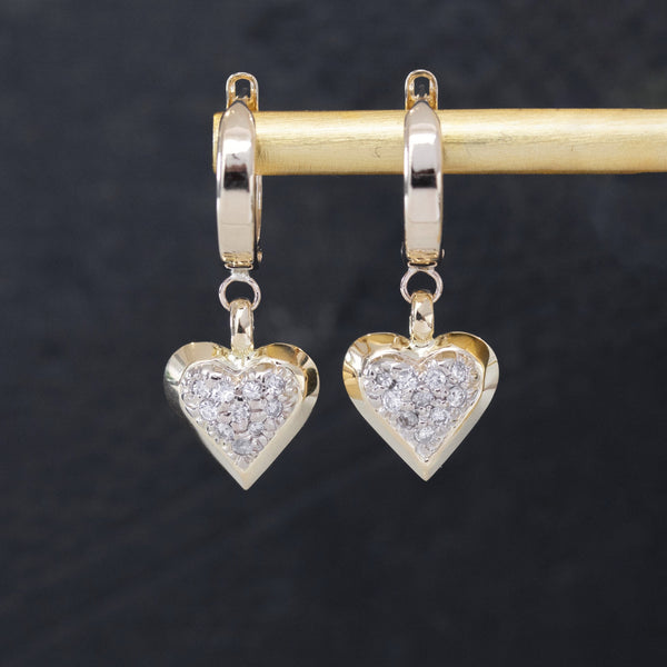 .40ctw Diamond Pave Heart Drop Hoop Earrings