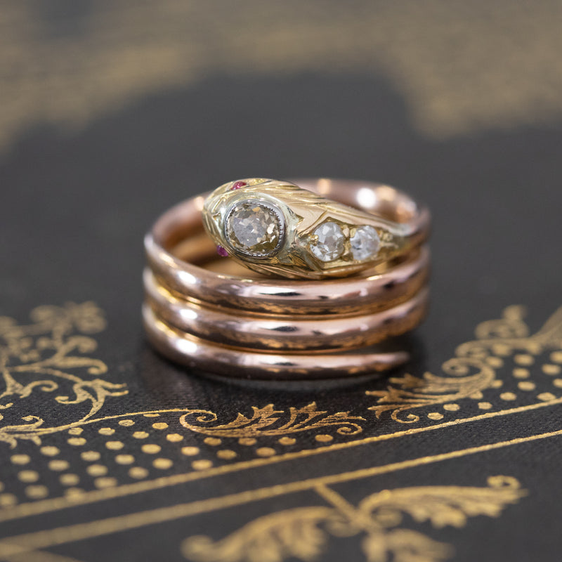 .47ctw Vintage Coiled Snake Diamond Ring