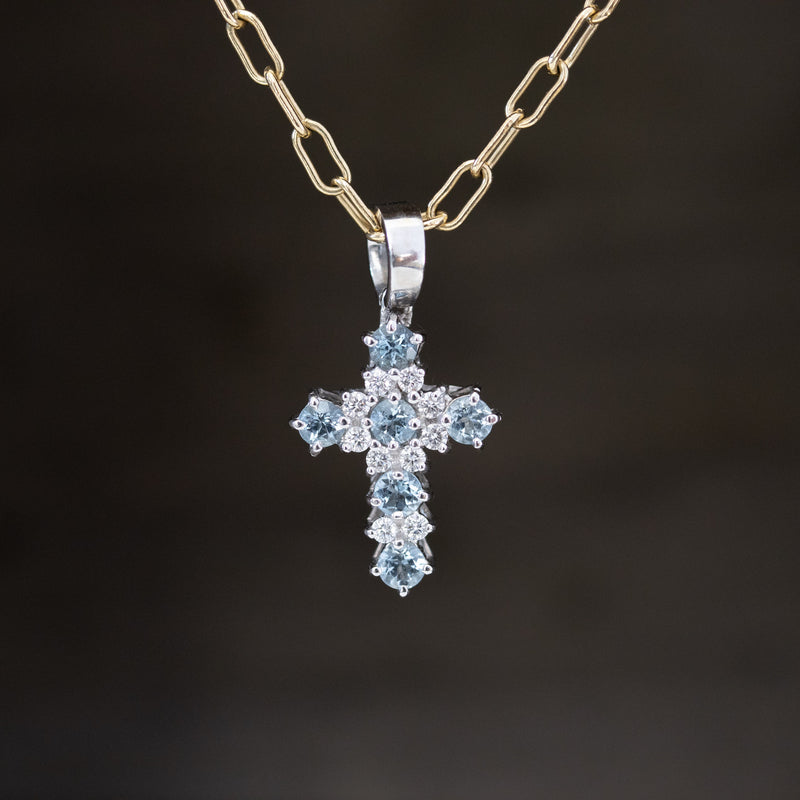 .75ctw Diamond & Aquamarine Cross