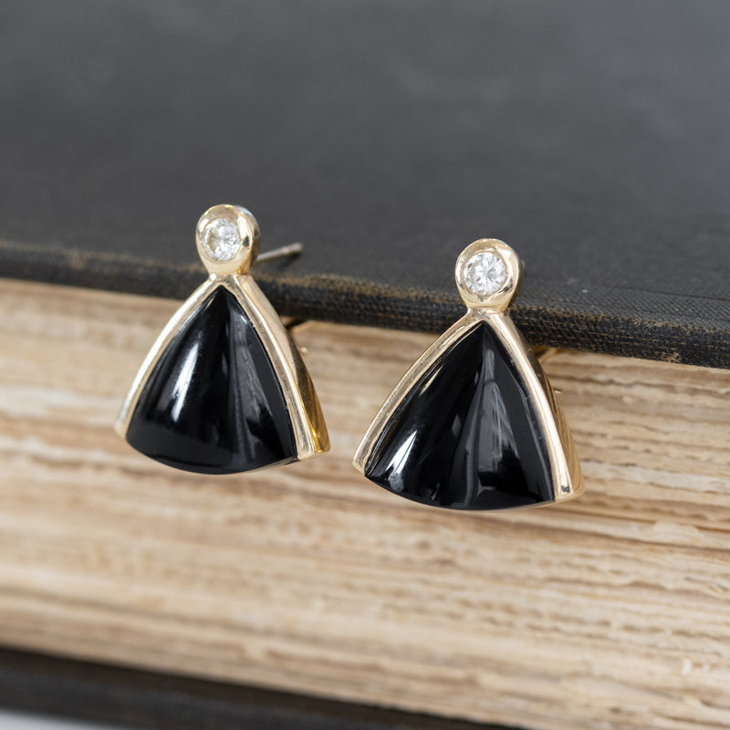 .37ctw Diamond & Onyx Gold Clip Earrings