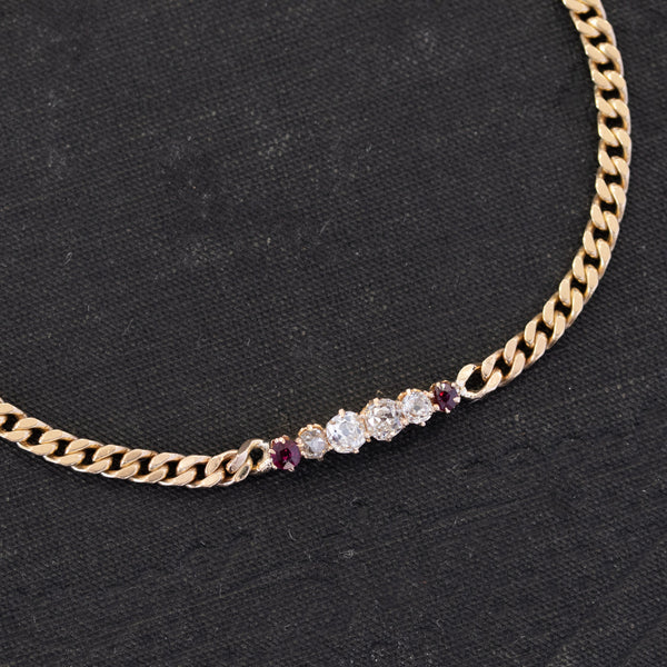 Diamond & Ruby Gold Link Curb Link Bracelet
