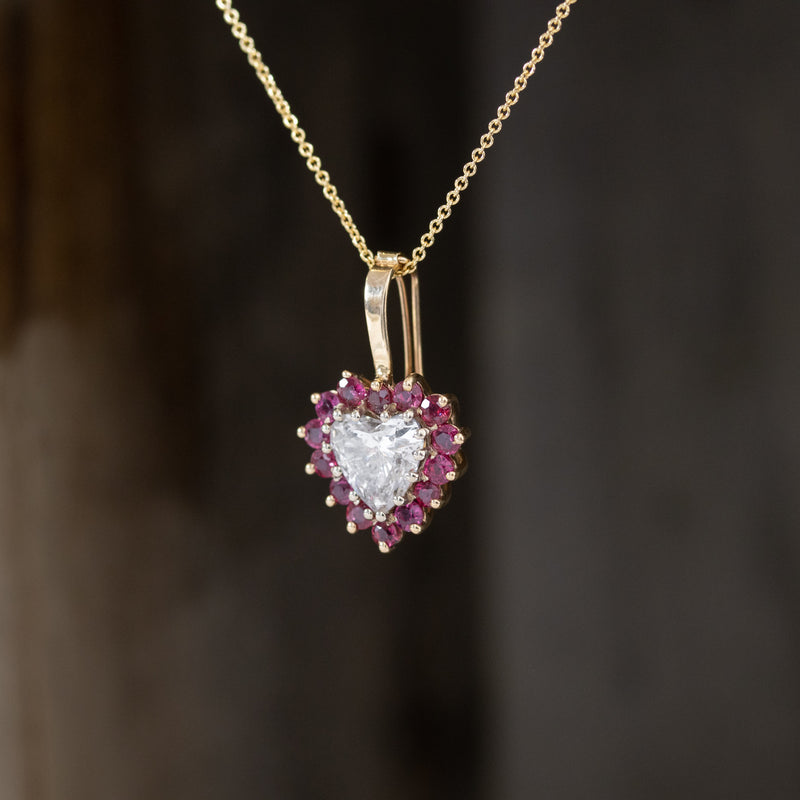 2.03ctw Diamond & Ruby Heart Pendant