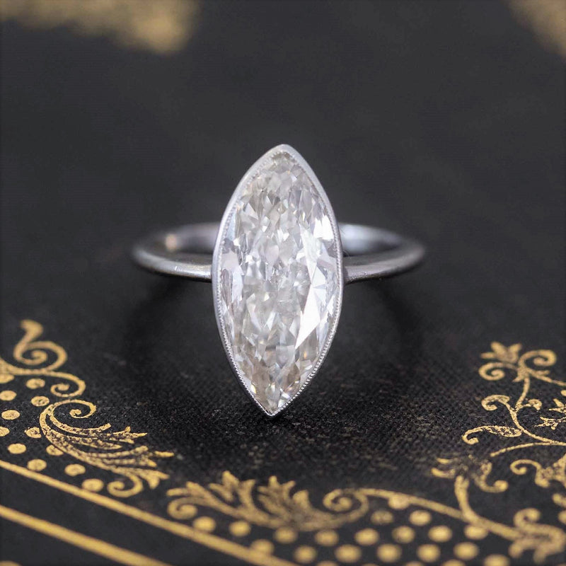 3.56ct Midcentury Marquise Cut Diamond Solitaire