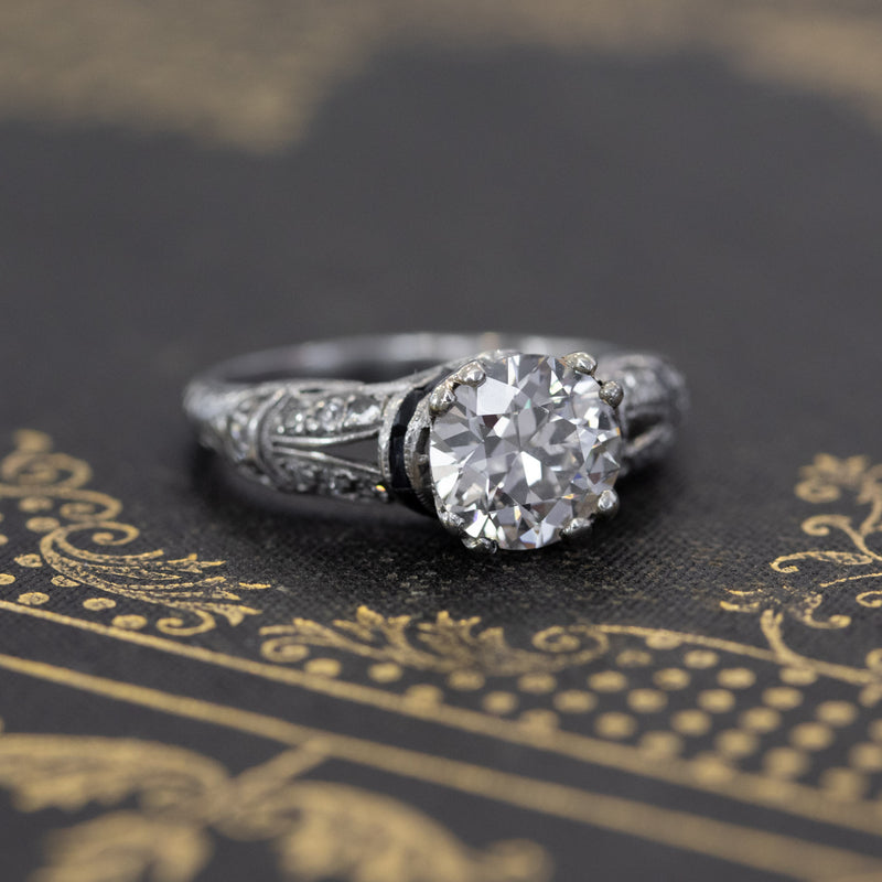 1.66ctw Edwardian Old European Cut Diamond Solitaire