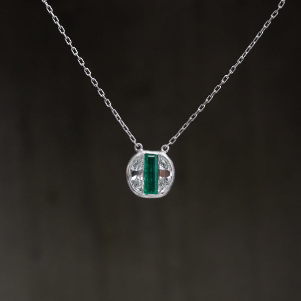 1.27ctw Emerald & Diamond Circle Pendant