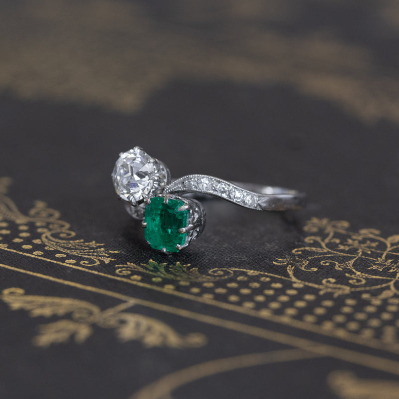 1.91ctw Emerald & Diamond Toi Et Moi Ring