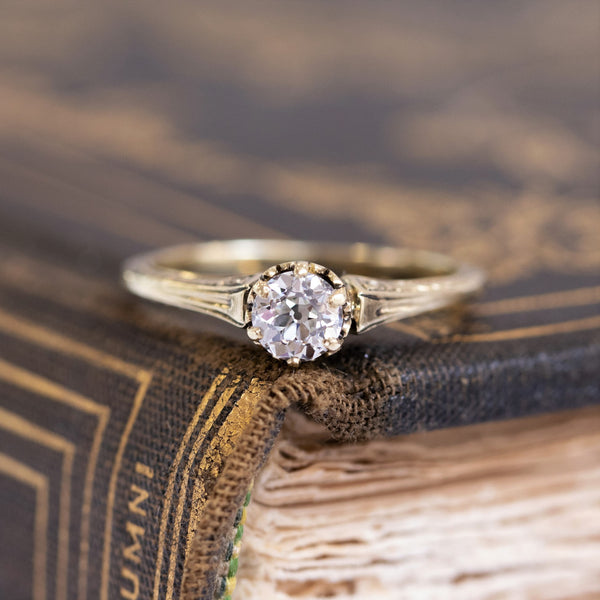 .41ct Old European Cut Engraved Diamond Solitaire