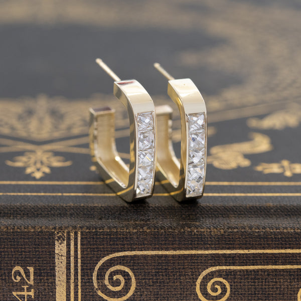 1.56ctw French Cut Diamond Hoop Earrings