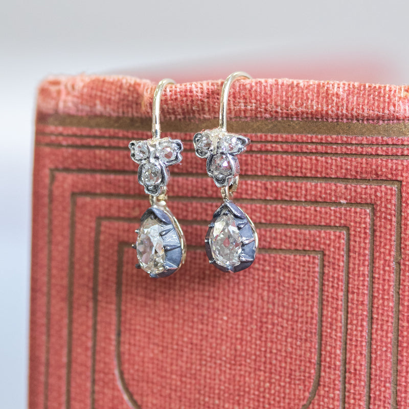 .70ctw Georgian Diamond Conversion Earrings