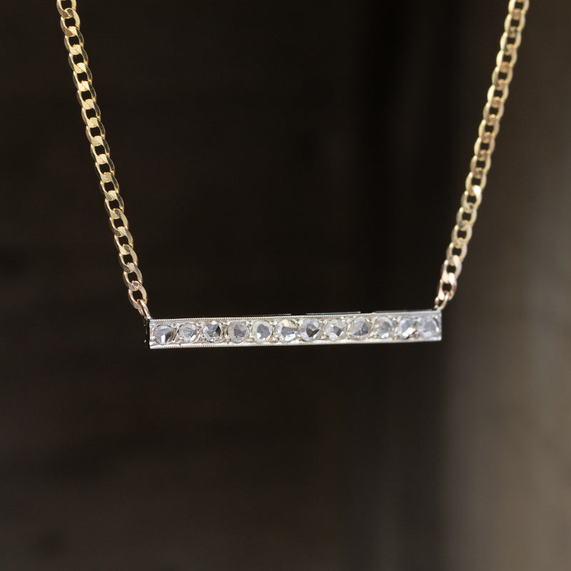.33ctw Art Deco Rose Cut Diamond Bar Pendant