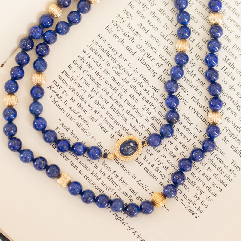 Lapis Lazuli and Gold Beaded Necklace