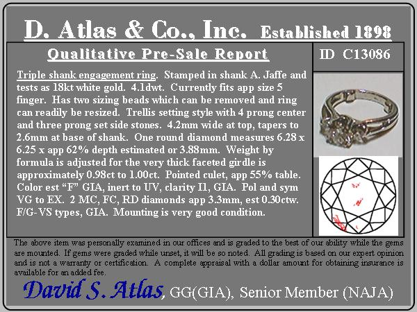 1.30ctw (est) 3-stone Ring by A. Jaffe