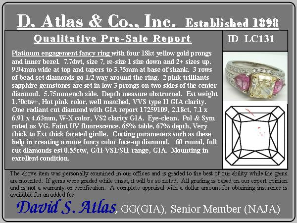 2.18ct Radiant Cut Diamond and Pink sapphire 3-Stone Ring by DBL GIA W-X, VS2