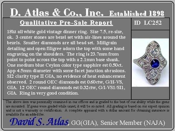 1.42ctw 3-Stone Old European Cut Diamond and Sapphire Ring